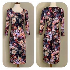 New York & Company Dark Floral Long Sleeve Dress